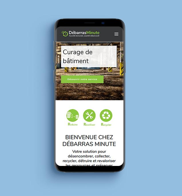 Refonte du site internet Débarras Minute version mobile responsive