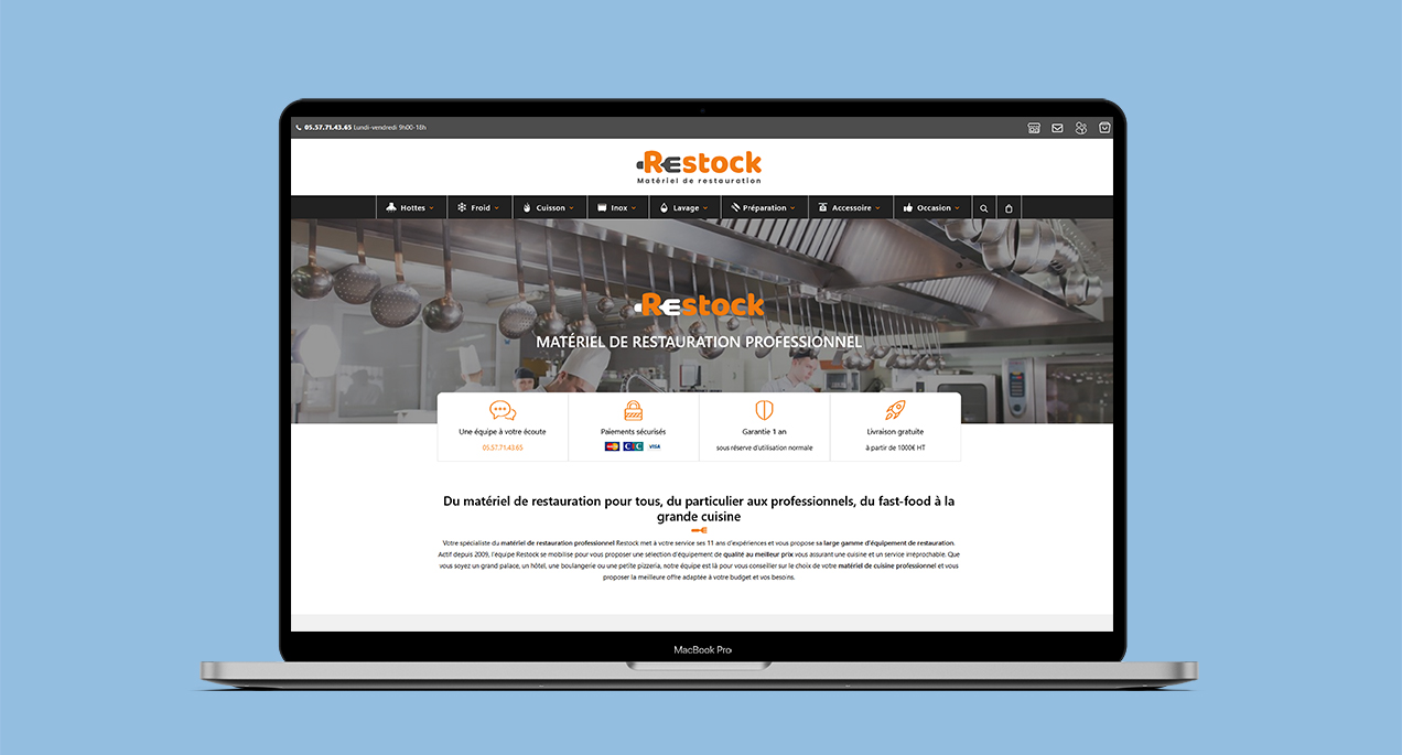 Refonte du site internet e-commerce Restock version ordinateur