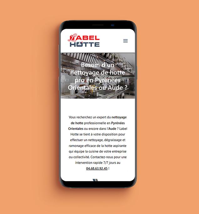 Création du site internet Label Hotte version responsive mobile