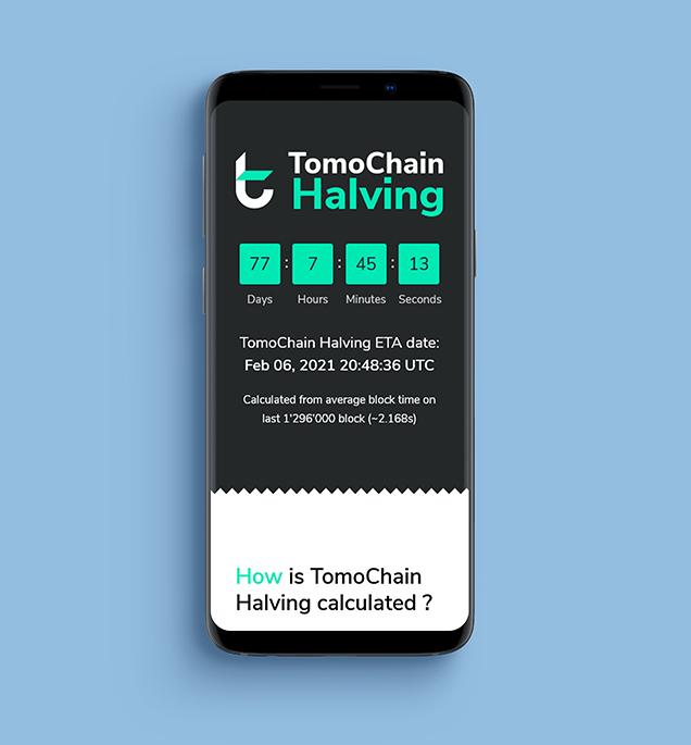Mockup Site web TomoChain Halving version mobile