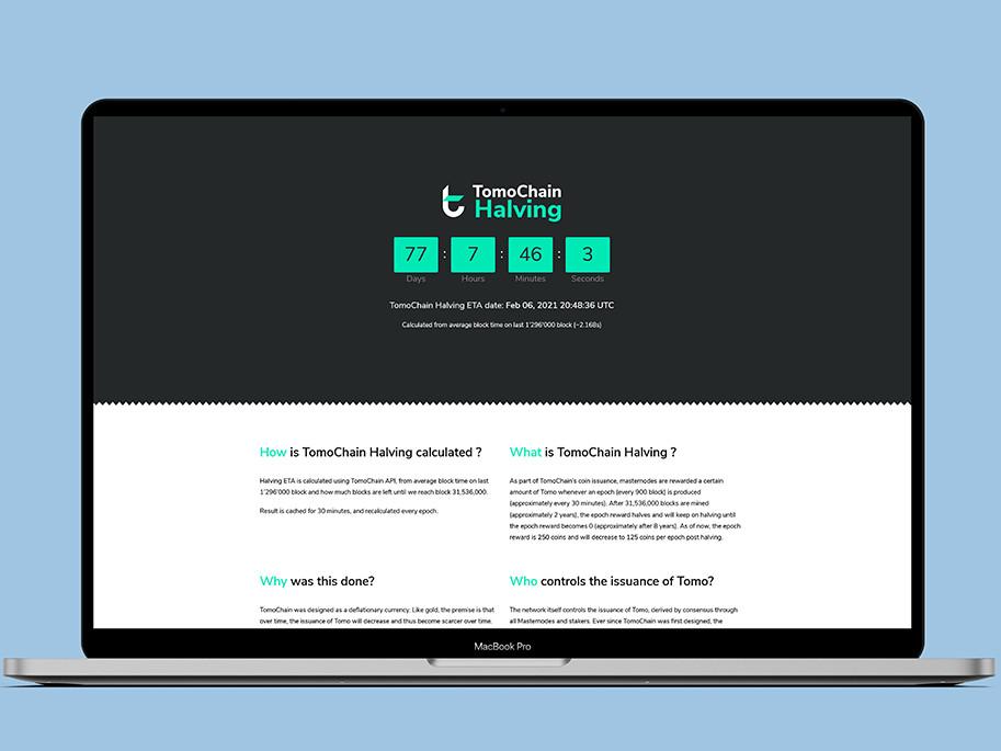 Mockup Site web TomoChain Halving version desktop